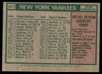 1975 Topps #611   -  Bill Virdon Yankees Team Checklist Back Thumbnail