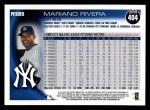 2010 Topps #404  Mariano Rivera  Back Thumbnail