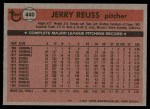 1981 Topps #440  Jerry Reuss  Back Thumbnail
