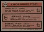 1981 Topps #479   -  Tim Raines / Roberto Ramos / Bob Pate Expos Back Thumbnail