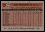 1981 Topps #248  Joey McLaughlin  Back Thumbnail