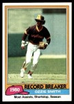 1981 Topps #207   -  Ozzie Smith Record Breaker Front Thumbnail