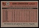 1981 Topps #591  John Lowenstein  Back Thumbnail