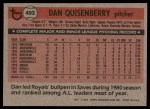 1981 Topps #493  Dan Quisenberry  Back Thumbnail