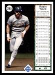 1989 Upper Deck #285  Robin Yount  Back Thumbnail