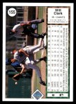 1989 Upper Deck #155  Will Clark  Back Thumbnail