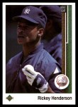 1989 Upper Deck #210  Rickey Henderson  Front Thumbnail
