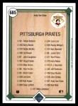 1989 Upper Deck #685   -  Andy Van Slyke Pittsburgh Pirates Team Back Thumbnail
