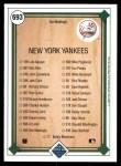 1989 Upper Deck #693   -  Don Mattingly New York Yankees Team Back Thumbnail