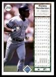 1989 Upper Deck #210  Rickey Henderson  Back Thumbnail