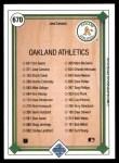 1989 Upper Deck #670   -  Jose Canseco Oakland Athletics Team Back Thumbnail