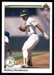 1990 Upper Deck #334  Rickey Henderson  Front Thumbnail