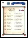 1990 Upper Deck #84   -  John Smoltz Atlanta Braves Team Back Thumbnail