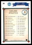 1990 Upper Deck #36   -  Mark McGwire Oakland Athletics Team Back Thumbnail