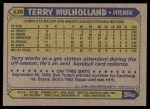 1987 Topps #536  Terry Mulholland  Back Thumbnail