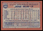 1991 Topps #493  Jose Rijo  Back Thumbnail