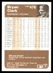 1983 Fleer #476  Bryan Clark  Back Thumbnail