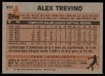1983 Topps #632  Alex Trevino  Back Thumbnail