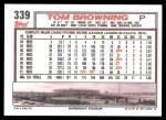 1992 Topps #339  Tom Browning  Back Thumbnail