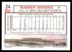 1992 Topps #24  Randy Myers  Back Thumbnail