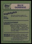 1982 Topps #771   -  Goose Gossage In Action Back Thumbnail