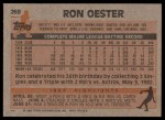 1983 Topps #269  Ron Oester  Back Thumbnail