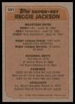 1983 Topps #501   -  Reggie Jackson Super Veteran Back Thumbnail