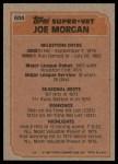 1983 Topps #604   -  Joe Morgan Super Veteran Back Thumbnail