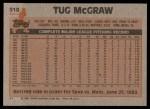 1983 Topps #510  Tug McGraw  Back Thumbnail