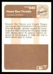 1983 Fleer #640  Ben Oglivie / Reggie Jackson  Back Thumbnail