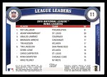 2011 Topps #11   -  Roy Halladay / Adam Wainwright / Ubaldo Jimenez NL Wins League Leaders Back Thumbnail
