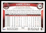 2011 Topps #100  Albert Pujols  Back Thumbnail