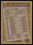 1986 Topps #137   -  Joe Morris / Lionel Manuel / Elvis Patterson / Leonard Marshall / Lawrence Taylor Giants Leaders Back Thumbnail