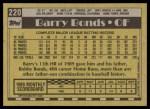 1990 Topps #220  Barry Bonds  Back Thumbnail