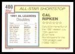 1992 Topps #400   -  Cal Ripken All-Star Back Thumbnail