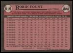 1989 Topps #615  Robin Yount  Back Thumbnail