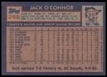 1984 Topps #268  Jack O'Connor  Back Thumbnail