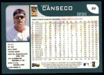 2001 Topps #61  Jose Canseco  Back Thumbnail