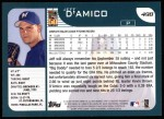 2001 Topps #498  Jeff D'Amico  Back Thumbnail