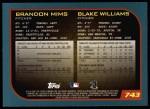 2001 Topps #743  Brandon Mims / Blake Williams  Back Thumbnail