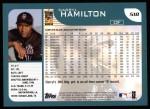 2001 Topps #518  Darryl Hamilton  Back Thumbnail
