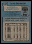 1988 Topps #262  Tony Dorsett  Back Thumbnail