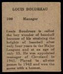 1949 M.P. and Co #100  Lou Boudreau  Back Thumbnail