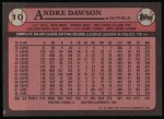 1989 Topps #10  Andre Dawson  Back Thumbnail