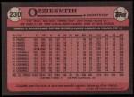 1989 Topps #230  Ozzie Smith  Back Thumbnail