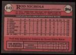 1989 Topps #443  Rod Nichols  Back Thumbnail