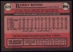 1989 Topps #620  Barry Bonds  Back Thumbnail