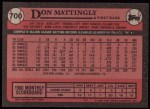 1989 Topps #700  Don Mattingly  Back Thumbnail
