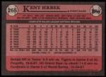 1989 Topps #265  Kent Hrbek  Back Thumbnail