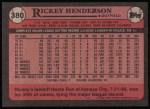 1989 Topps #380  Rickey Henderson  Back Thumbnail